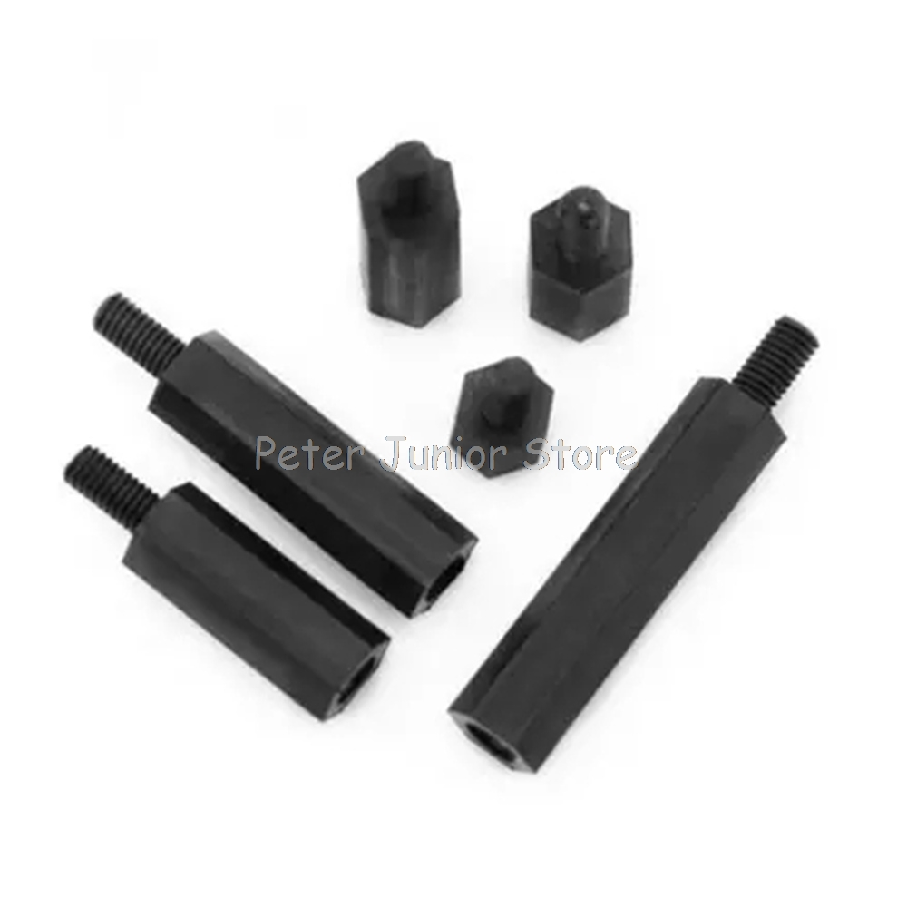 50Pcs Black Spacing <font><b>Screw</b></font> M2xL+<font><b>5mm</b></font> M2.5/<font><b>M3</b></font>/M4xL+6mm Thread Plastic For PCB Motherboard Fixed Nylon Standoff Spacer Pillar GMN image