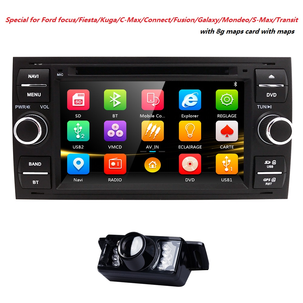 AutoRadio 2 din Car DVD Player For Ford Fiesta 2005 Focus 2 3 C S Max Mondeo 4 kuga Fusion transit Galaxy Connect Audio GPS BT3G 2x 18 smd led license plate light module for ford focus da3 dyb fiesta ja8 mondeo mk4 c max s max kuga galaxy