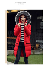 2016 Big Brand Hot Nagymaros Collar Hooded Thicken Down Jacket Fashion Warm Longer Cotton-padded Coat Outerwear Femme Costomes