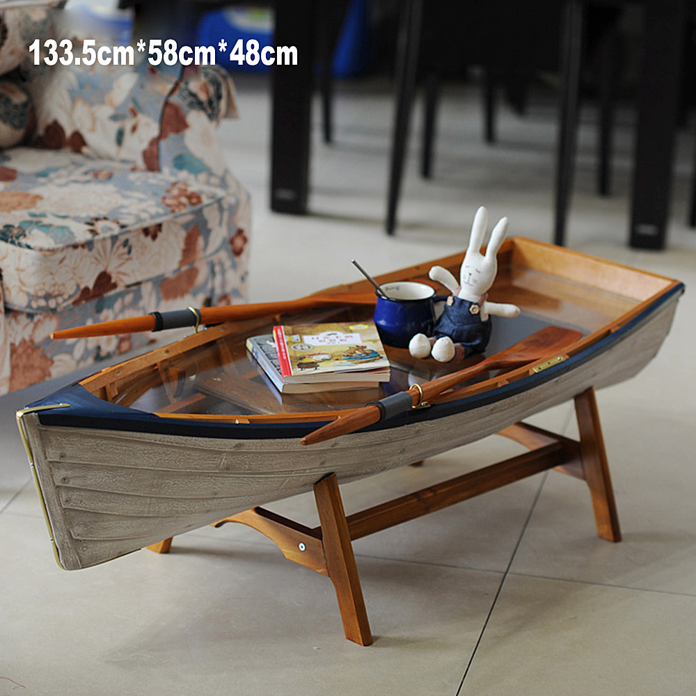 Mediterranean Boat Shape Table Picnic Outdoor Garden Desk Unfoldable Balcony Coffee Table Tea tables Furniture Decorat Creative (6)