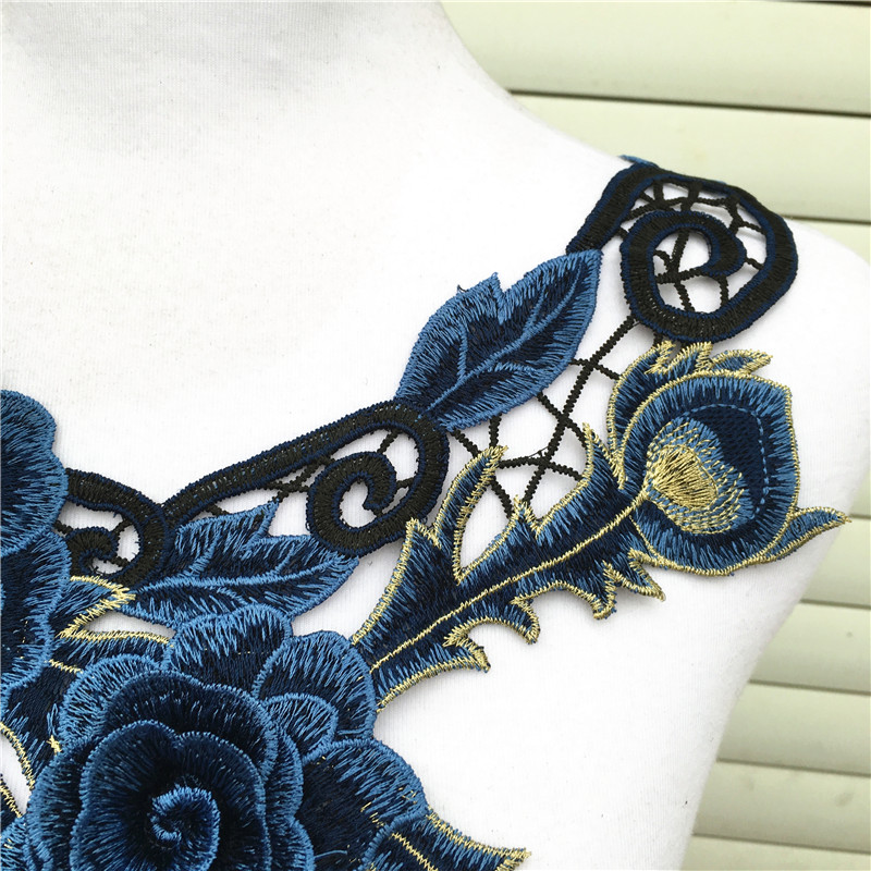 3D Flower Water-Soluble Embroidered Lace Fabric Trim Sewing DIY Collar Neckline Applique Crafts Garment Accessories Green