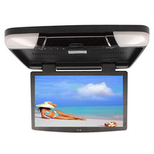 "AuMoHall 15.6 "" TFT LCD Car Roof Mount Monitors Car Flip Down Monitor with 2 Video Input Auto Tunnig(China)"