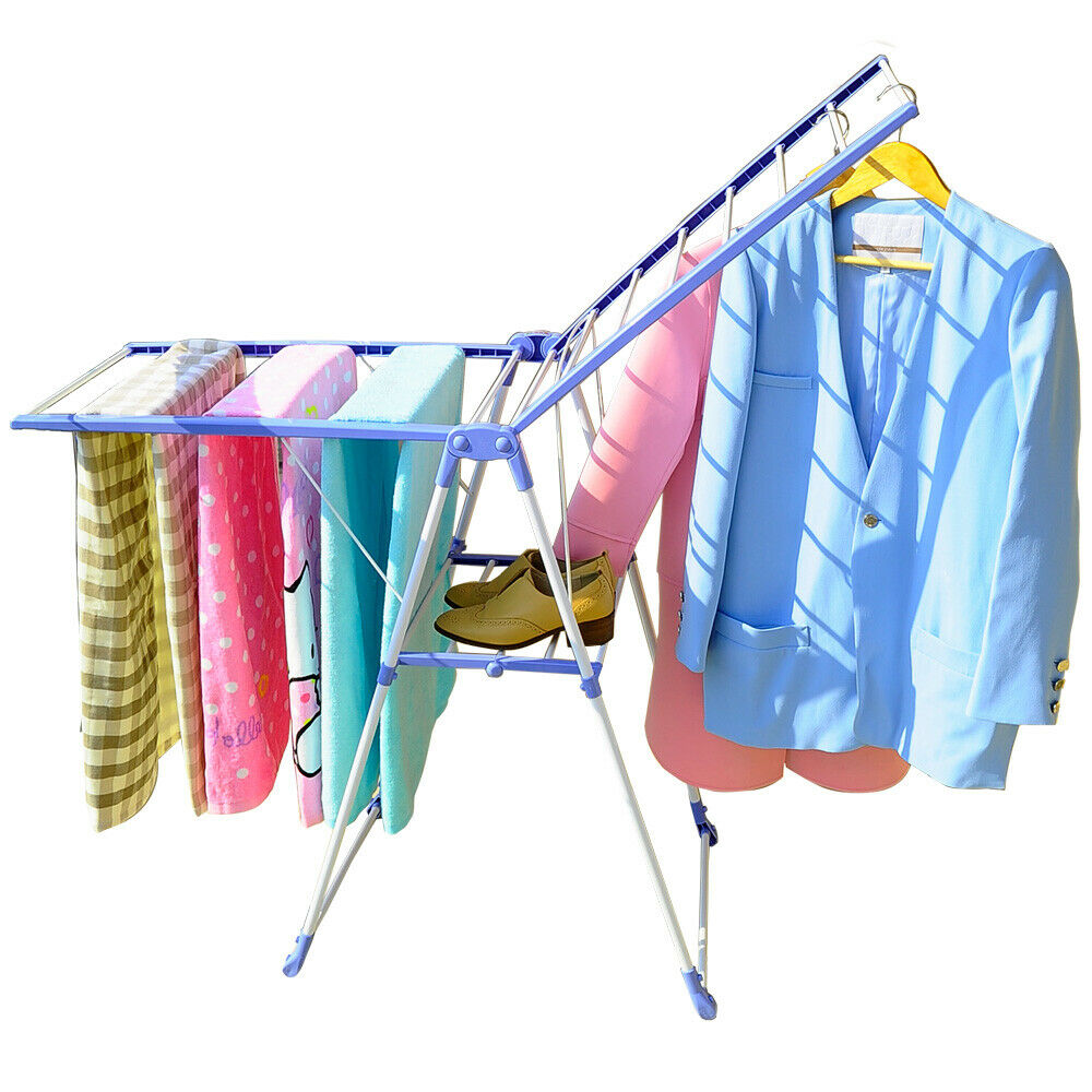 Wing Shape Foldable Laundry Clothes Storage Drying Rack Airer Portable Dryer Hanger Organizer Pole Indoor outdoor Balcony DQ0820