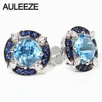 100 Natural 2 4cttw Blue Topaz Stud Earrings Genuine 925 Sterling Silver Vintage Gemstone Earrings Fine
