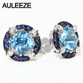 100% Natural 2.4cttw Blue Topaz Stud Earrings Genuine 925 Sterling Silver Vintage Gemstone Earrings Fine Jewelry Women Gift
