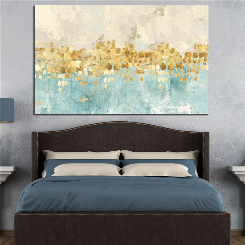 Modern Abstract Gold Money Sea Wave Oil Painting on Canvas Poster Modern Art Wall Picture for Living Room Cuadros Decor