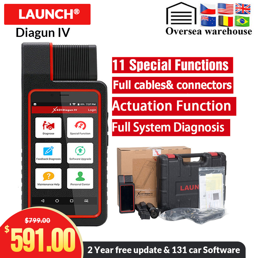 LAUNCH X431 Diagun IV OBD II Code Reader with Full System Adapters Software 2 year Free