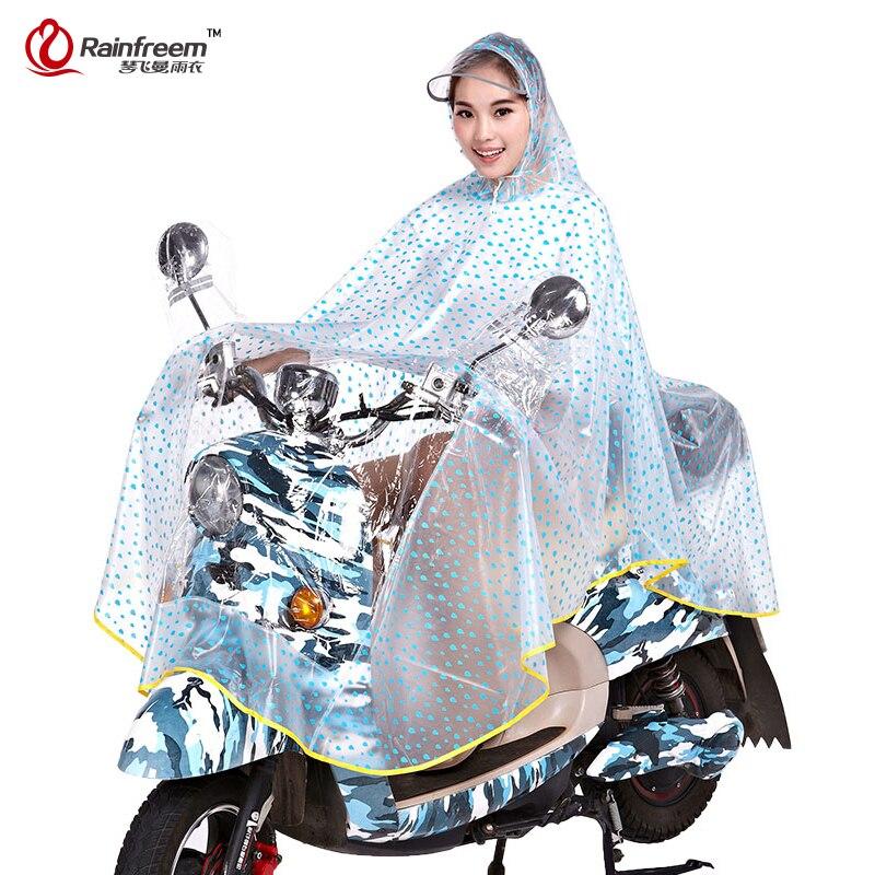 Rainfreem Impermeable Motorcycle Transparent Raincoat Women Plus Size Polka Dot Motorcycle Rainwear Waterproof Rain Gear Poncho