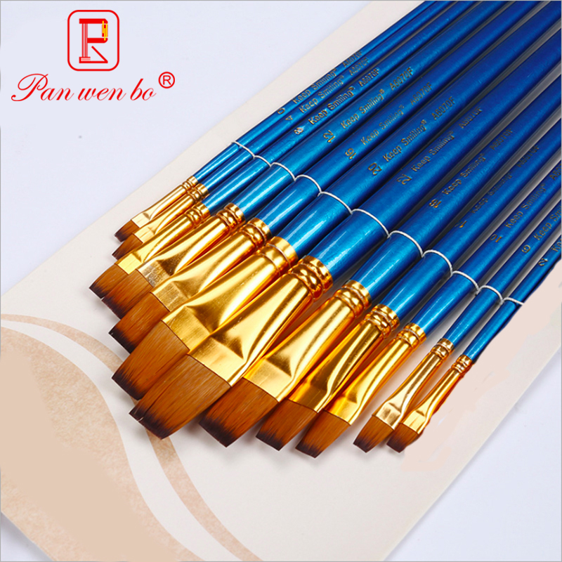 12 Pieces Mixed Size Flat Head Brushes For Drawing Blue Nylon Hair Paint Brush For Stationery Art Supplies