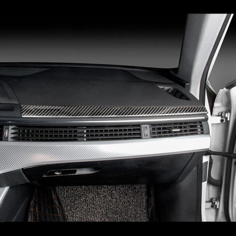 Carbon Fiber Car Styling Copilot Dashboard Trim Strip For Audi A4 B9 2017 2019 LHD Auto Interior Accessories