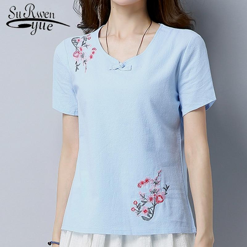new 2019 fashion Summer tops Short Sleeve Cotton Linen Women   Blouse     Shirt   Embroidery Floral blue women's clothing Blusas D770 30