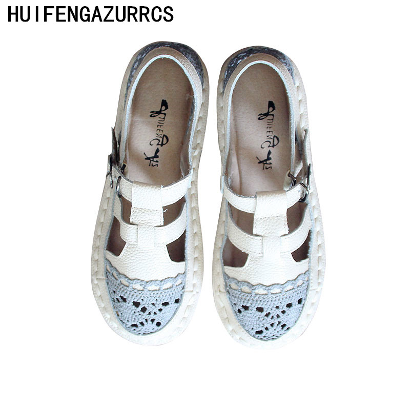 HUIFENGAZURRCS Hot 2019 summer new pure handemade genuine leather leisure shoes flat bottom breathable net shoes