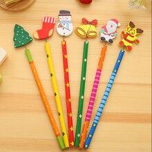 Gifts Stationery Erasable Pencils Drawing-Tool Wooden-Series Novelty Cartoon 6pcs/Lot