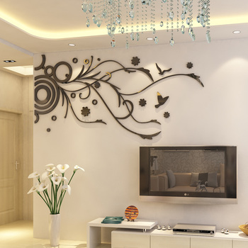 Wall Decor Decals For TV Background Living Room Wall Stickers 3D Linear Flower Vine Wallpaper Modern Style Home Decoration Mural 7
