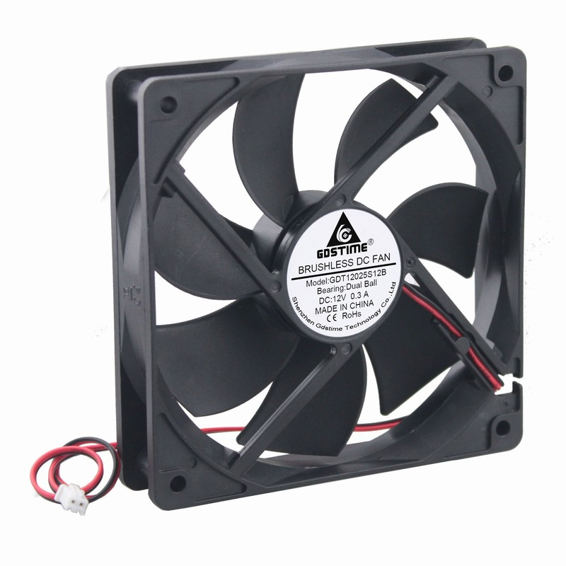 Gdstime 5 Pcs 120mm x 25mm 0.3A Dual Ball DC 12V PC Case Cooling Fan 120*120*25mm Computer Cooler 12cm Two Wires-in Fans & Cooling from Computer & Office    1