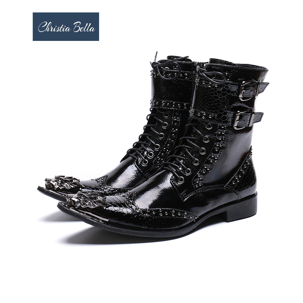 Christia Bella Winter Metal Pointed Toe Men Boots Rivets Real Leather Men Motorcycle Boots Black Lace Up Short BootsChristia Bella Winter Metal Pointed Toe Men Boots Rivets Real Leather Men Motorcycle Boots Black Lace Up Short Boots