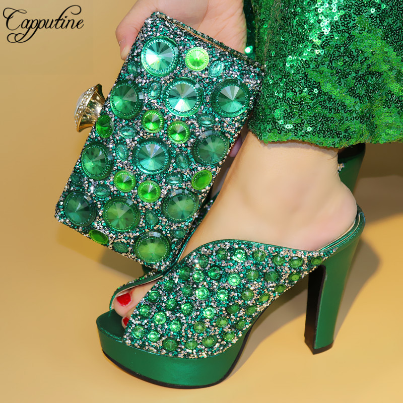 Capputine Italian Style Decorated With Rhinestone Shoes And Purse Set For Wedding Set African Green Color Party Shoes And Bag все цены