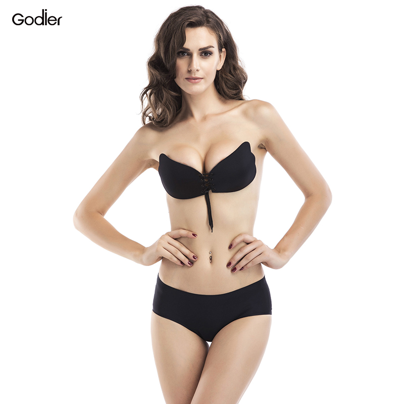 Godier Invisible Bras Backless Self-Adhesive Fly Bra Push Up Sexy Seamless Lace Up Silicone Bust Sujetador Wedding Party