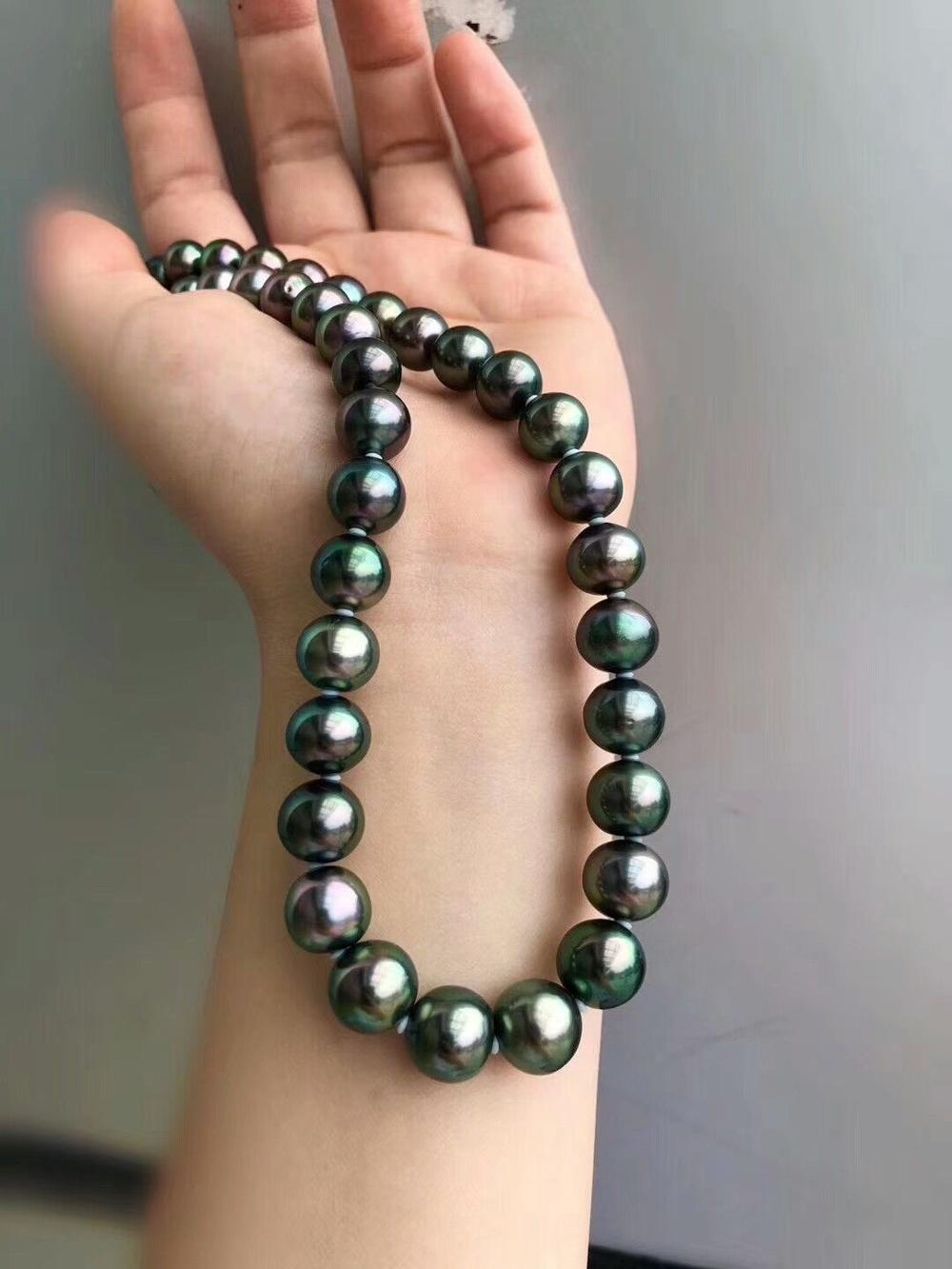 HUGE AAA 10-11MM ROUND SOUTH SEA GENUINE BLACK GREEN PEARL NECKLACE 18 925silver GOLDHUGE AAA 10-11MM ROUND SOUTH SEA GENUINE BLACK GREEN PEARL NECKLACE 18 925silver GOLD