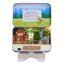 где купить Box Theatre DIY Doll House Furniture Miniatura For Dollhouse Light House For Dolls Toys For Children Brave New World T008 #E дешево