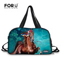 FORUDESIGNS Horse Animals UK Style Women Men Sport Gym Bags Travel Large Waterproof Tote Bags Luggage Shoulder Bag Outdoor