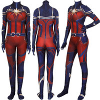 Women Girls Movie Avengers: Endgame Captain Marvel Carol Danvers Cosplay Costume Zentai Superhero Bodysuit Suit Jumpsuits