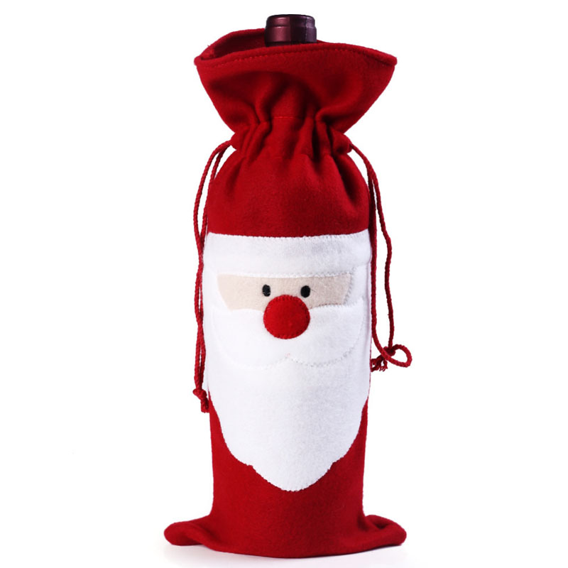 Wine Bottle Cover Bag Decoration Home Party Santa Claus Christmas Party Dinner Decoration Party Natale    TB Sale