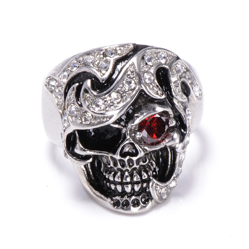 HTB1gkerKXXXXXaGXFXXq6xXFXXXP - Skull Shaped Pirate Inspired Ring with Crystals