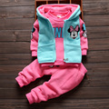 2016 Fashion Gilrs Autumn Clothing Cartoon Minnie hoodies 3 pcs Set Tshirt+Pant+Vest Free Shipping