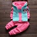 2016 Moda Gilrs Outono Roupa Dos Desenhos Animados Minnie hoodies 3 pcs Set Camiseta + Calça + Vest Frete Grátis