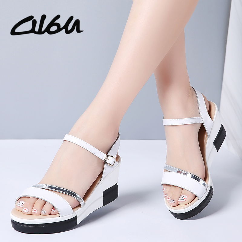 O16U Women Fashion Sandals Genuine Leather Strap Sandals Ladies High Heel Buckle Wedge Platform Sandals Shoes Women Flats Summer