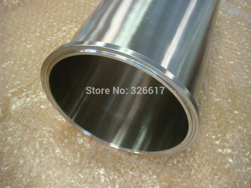 Sanitary Triclamp Spool Pipe W/ Sleeve Tri Clamp 4 In. X 12 In.Long - SS304 Stainless / 3A Standard Dewaxing Column
