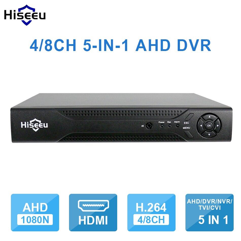 Hiseeu 4CH 8CH 1080 P 5 в 1 DVR видеомагнитофон для AHD аналоговые камеры ip-камера P2P NVR cctv система DVR H.264 VGA HDMI