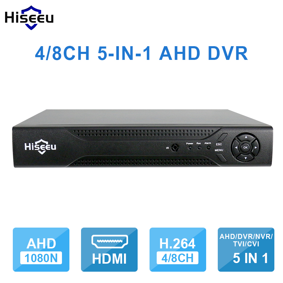 Hiseeu 4CH 8CH 1080P 5 in 1 DVR video recorder for AHD camera analog camera IP camera P2P NVR cctv system DVR H.264 VGA HDMI smar 5 in 1 hybraid ahd dvr 4ch security cctv nvr h 264 video recorder cctv dvr system support 3g wifi storage for free