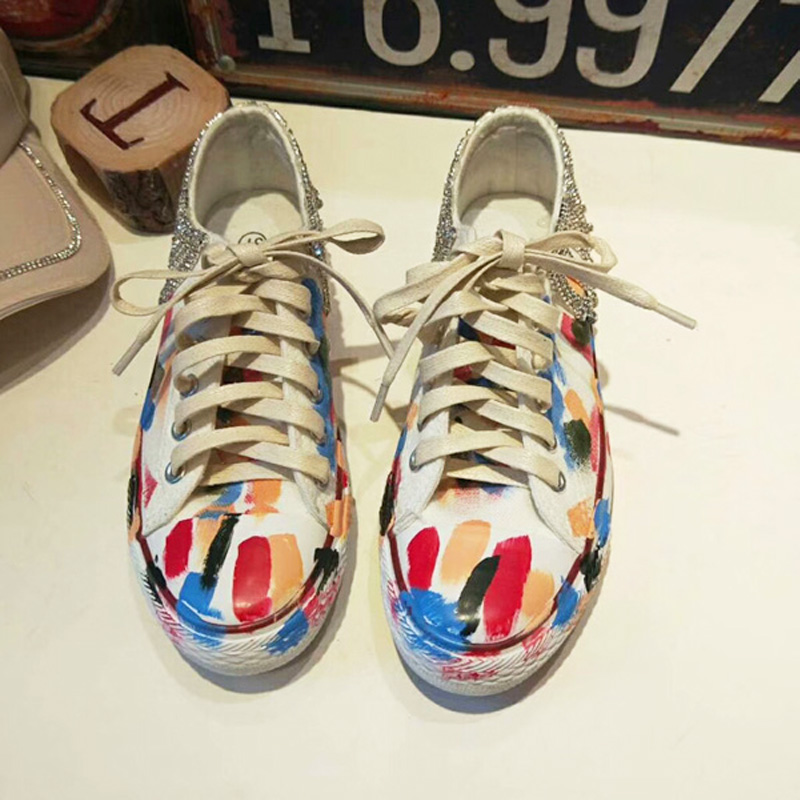 Casual Women Crastal Flat Shoes 2018 Women Canvas Shoes Fashion Women Graffiti Shoes High Quality Designs Sneakers Size 34-38 e lov women casual walking shoes graffiti aries horoscope canvas shoe low top flat oxford shoes for couples lovers