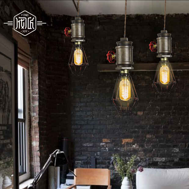 RH Retro Loft Style Vintage Pendant Light Droplight Iron Water Pipe Hanging Light For Cafe Bar Home Lighting Lamparas Colgantes new loft vintage iron pendant light industrial lighting glass guard design bar cafe restaurant cage pendant lamp hanging lights