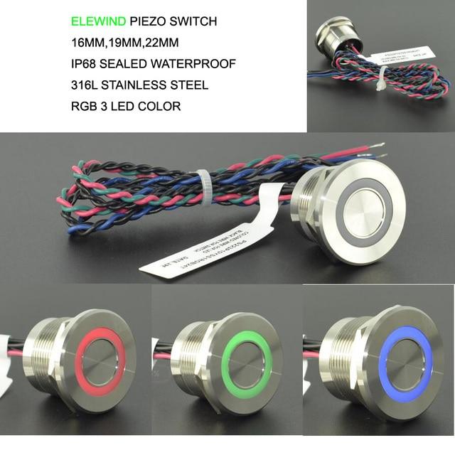High operation time IP68 316L interruptor de empuje piezoeléctrico de 3 colores RGB impermeable de acero inoxidable (22mm,PS223P10YSS1RGB24T,Rohs,CE)