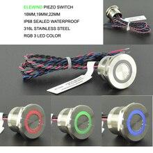 高動作時間 IP68 316L ステンレス鋼防水 RGB 3 色ピエゾプッシュスイッチ (22 ミリメートル、 PS223P10YSS1RGB24T 、 rohs 指令、 CE)
