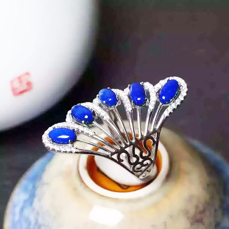 ring manufacturers selling in Europe and the crown of silver inlaid lapis ring Ring female jewelry supplies wholesalering manufacturers selling in Europe and the crown of silver inlaid lapis ring Ring female jewelry supplies wholesale
