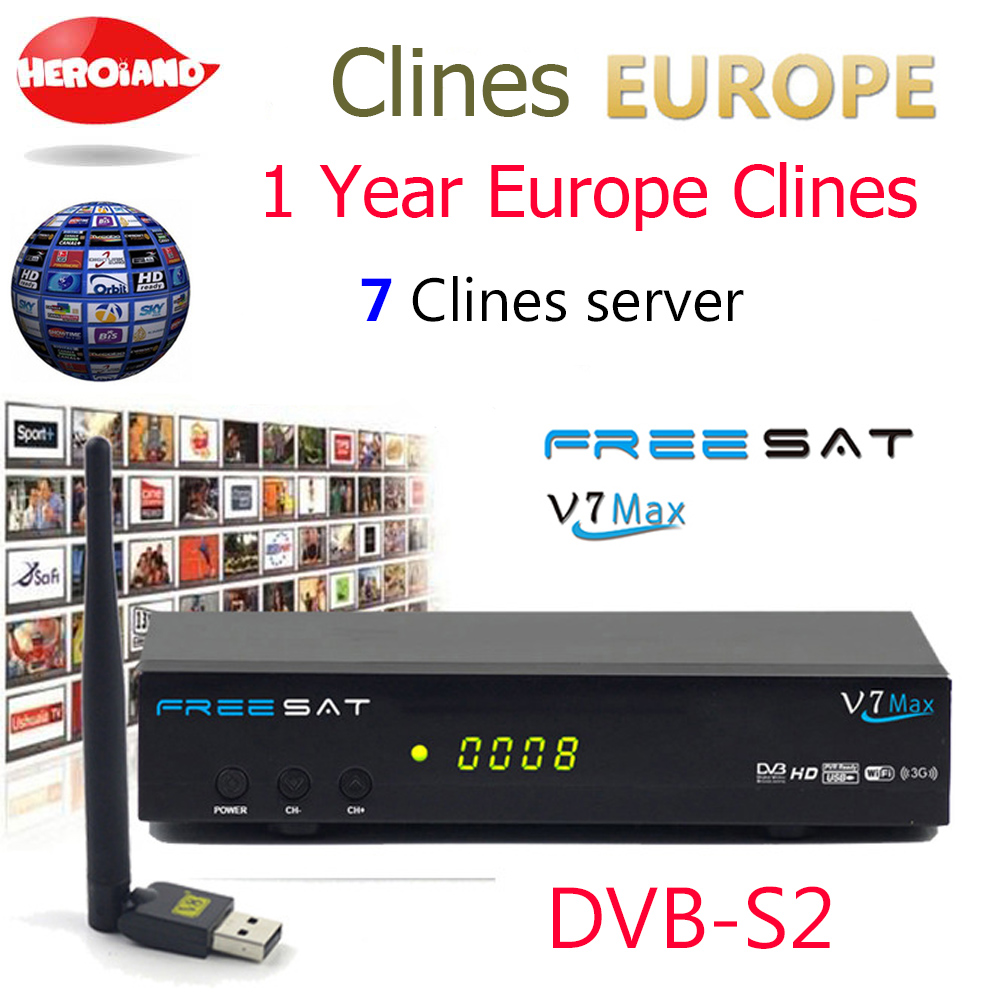 Hero Iand USB WIFI Europe 7 clines for 1 year V7 MAX DVB-S2 Satellite TV Receiver decoder PowerVu Biss Key Cline Newcam PK V7 1080p mobile dvb t2 car digital tv receiver real 2 antenna speed up to 160 180km h dvb t2 car tv tuner mpeg4 sd hd