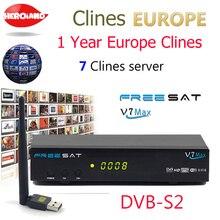 Hero Iand USB WIFI Europe 7 clines for 1 year V7 MAX DVB-S2 Satellite TV Receiver decoder PowerVu Biss Key Cline Newcam PK V7