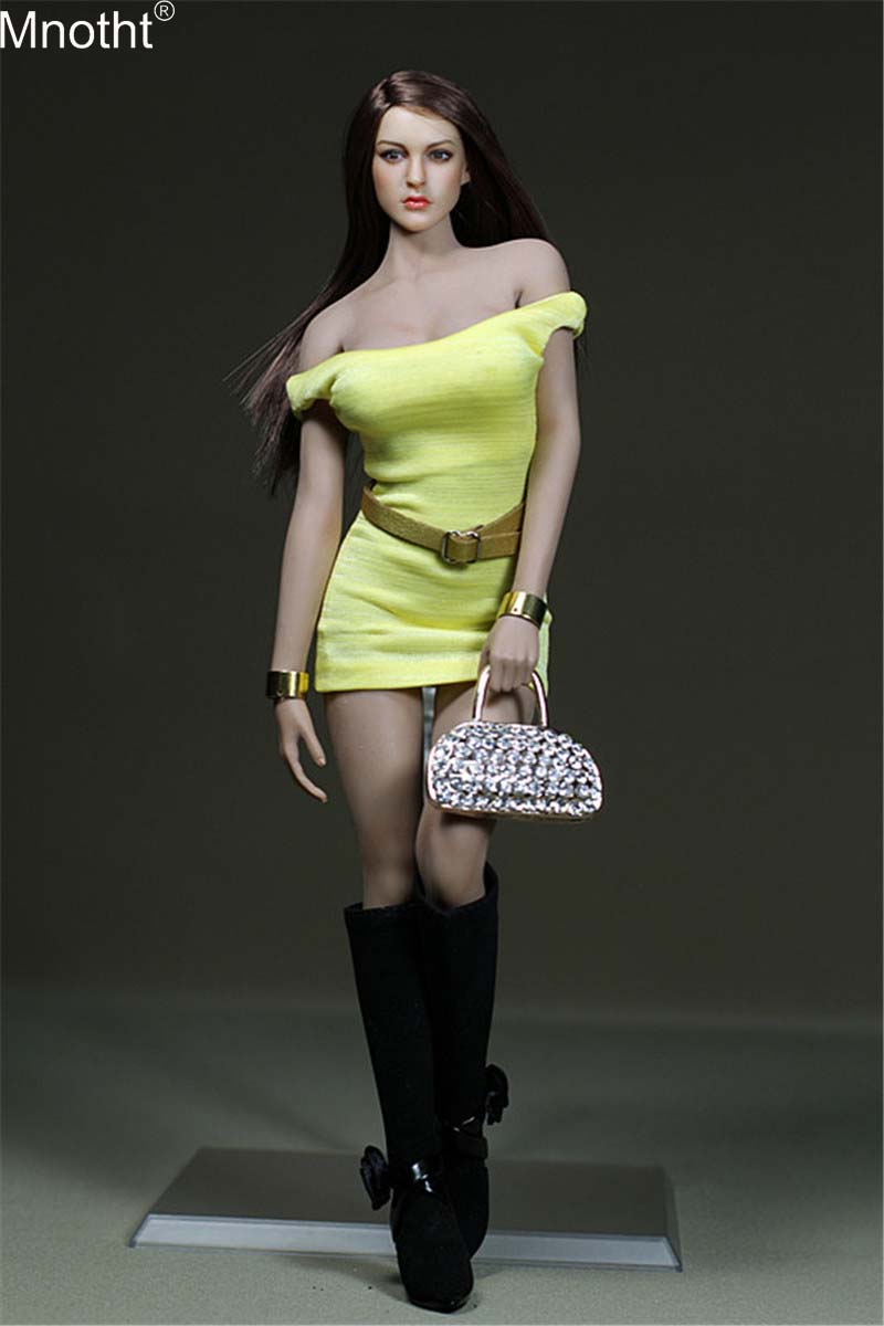 Mnotht Mini Skirt Toy 1/6 Female Yellow Pack Hip <font><b>Dress</b></font> <font><b>Sexy</b></font> Camisole Clothing Model for <font><b>12</b></font>'' Soldier Action Figure Collection image