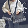 Nuevos Bolsos de Moda de europa y América Calidad de cuero de LA PU de Las Mujeres de pata de Gallo Simple de Gran capacidad de bolsa de hombro Femenino