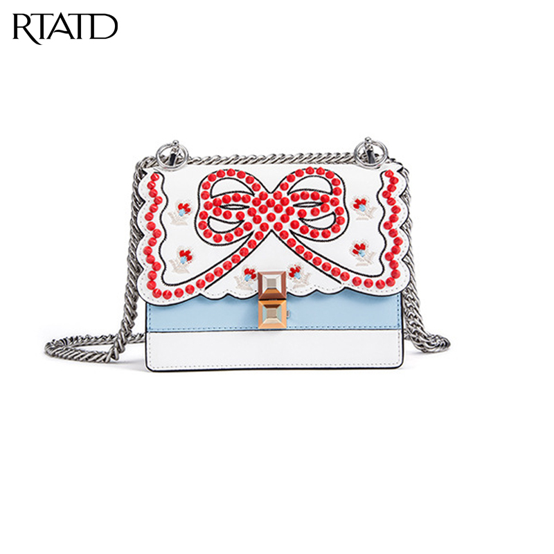 RTATD New Split Leather Women Handbags Fashion Rivet Chain Lady Messenger Bags Embroidery Flower Flap Female Crossbody Bag B097 flower embroidery flap chain bag