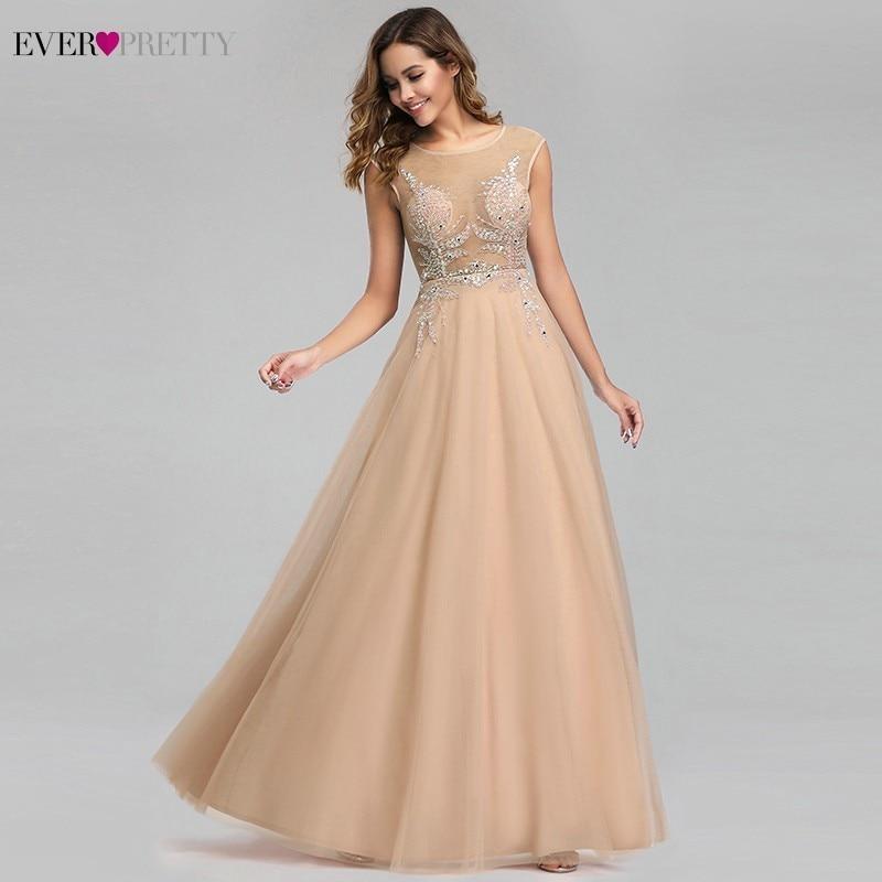 Luxury Beige Evening Dresses Ever Pretty EP00902BG A-Line O-Neck Crystal Sequined Appliques Formal Dresses Abiye Gece Elbisesi