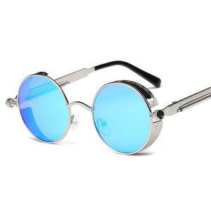 المعادن جولة Steampunk من النظارات الشمسية الرجال النساء أزياء النظارات العلامة التجارية مصمم ريترو الإطار خمر النظارات الشمسية عالية الجودة ...