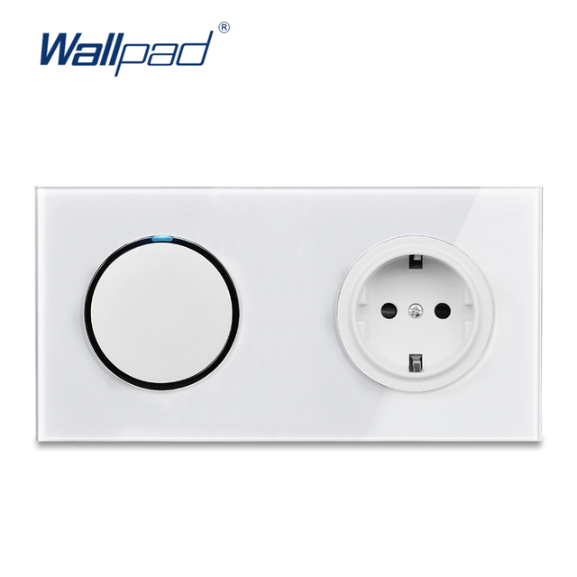 Wallpad L6 White 1 Gang 1 Way 2 Way Wall Light Switch With German Schuko SocketRandom Click Push Button Tempered Glass Panel