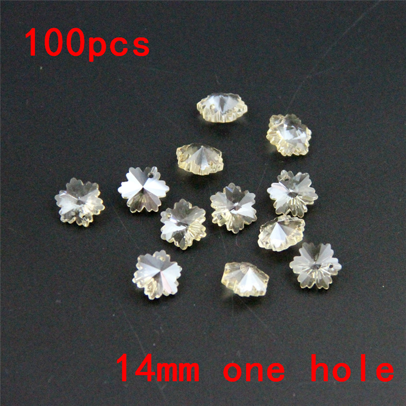 Charming 100pc 14mm Cognac Snowflake Baeds One Hole Crystal Glass Snow Shape Beads Suncatchers Chandelier Prism Beads