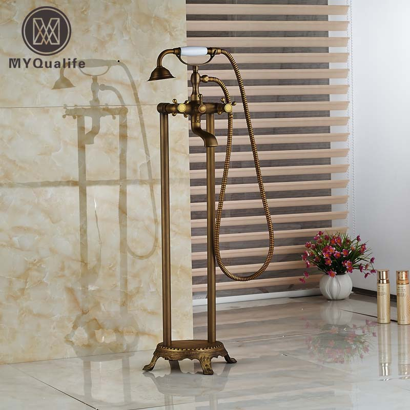 Free Standing Antique Brass Floor Mounted Bathtub Mixer Tap Faucet W/Hand Shower 2 Legs triangle round drop earrings