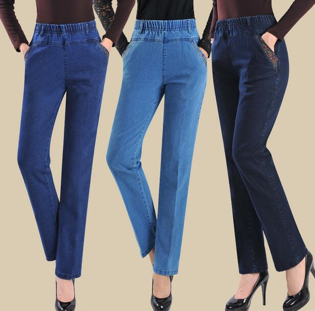 29-40 plus size 2017 New women embroidered jeans female straight high elastic waist women denim pants trousers T601